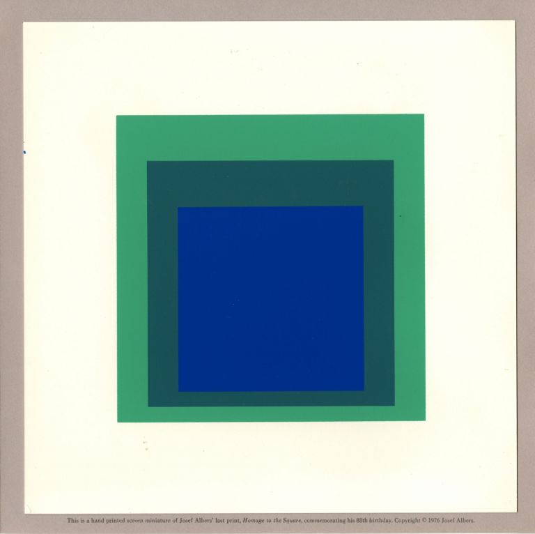 Homage to the Square [Handprinted screen miniature of serigraph by Josef Albers in blues & green]. Josef. Tyler Graphics Albers.