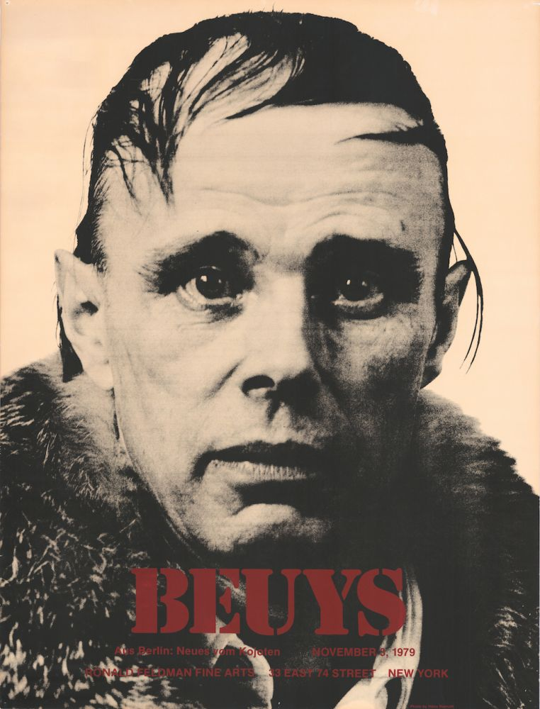 Beuys—Aus Berlin: Neues vom Kojoten. November 3, 1979. [Silkscreen poster, one of 14 copies]. Joseph. Namuth Beuys, photographer, Hans.