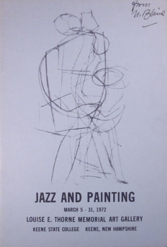 Jazz and painting. March 5–31, 1972. Corrected proof copy. Nell Blaine, Jocelyn Brodie.
