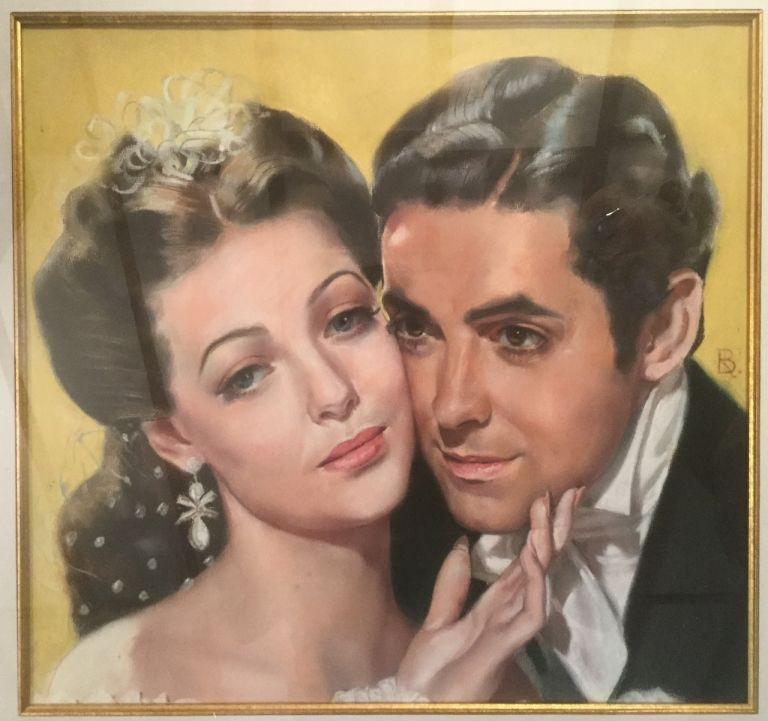 """Pastel drawing of Tyrone Power and Loretta Young in the film """"Suez"""" Ron Blumberg."""