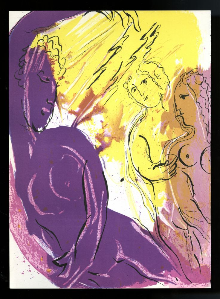 Angel of Paradise. L'ange du paradis. Single original lithograph from Verve 33/34. 1956. Marc Chagall.