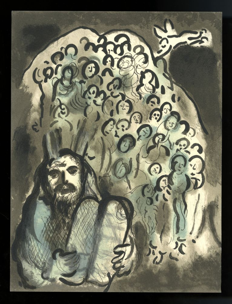 Moses and His People / Moïse et son peuple. Original lithograph from The Biblical message of Marc Chagall / La message biblique, 1972. Marc Chagall.