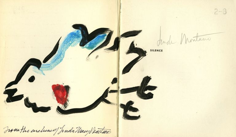 Silence: lectures and writings by John Cage, with original gouache. Linda. Cage Montano, John.