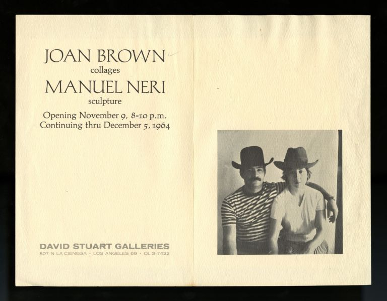 Joan Brown, collages; Manuel Neri, sculpture (exhibition invitation). Joan. Neri Brown, Manuel.
