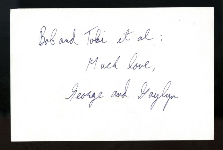 1985 handstamped greeting card. George and Gaylyn Herms.