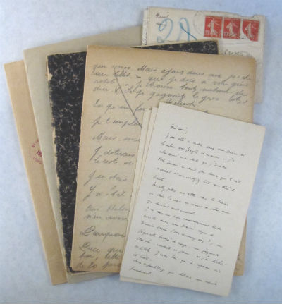 Manuscript lot by and to Valentine (Gross) Hugo. Valentine. Gross Hugo, Maurice, Valentine. Mathey.