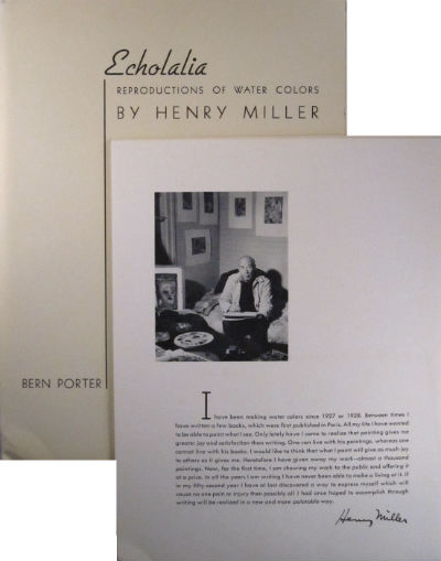 Echolalia: reproductions of water colors by Henry Miller. Henry Miller.
