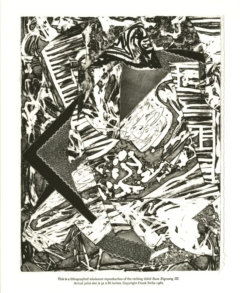 Swan Engravings. [Lithographed miniature of the etching by Frank Stella titled Swan Engraving III.]. Frank Stella.