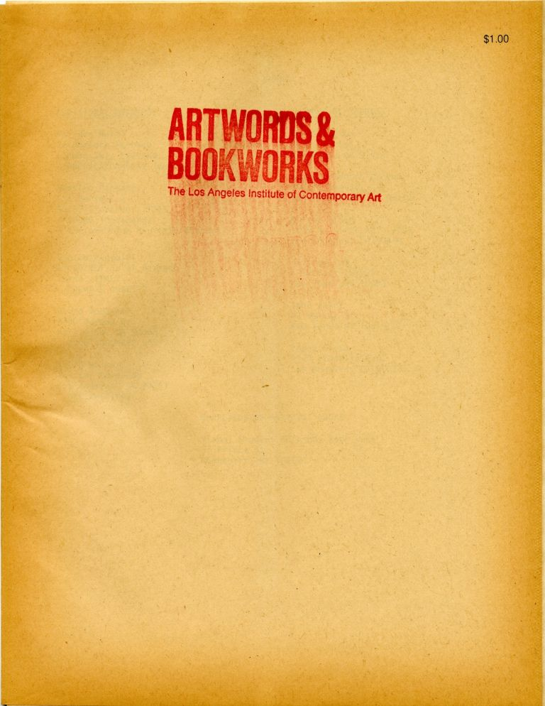 Artwords & Bookworks: an exhibition of recent artists' books and ephemera. 28 February-30 March 1978. Judith A. Hoffberg, curators Hugo Joan.