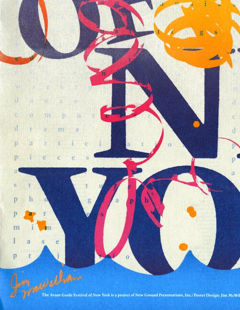 Annual New York Avant Garde Festival [title varies]. Complete set of 19 vintage posters, 1963-1980, 13 of them signed by Jim McWilliams. Charlotte Moorman, organizer, Jim McWilliams, poster designer 1937-, from 1966.