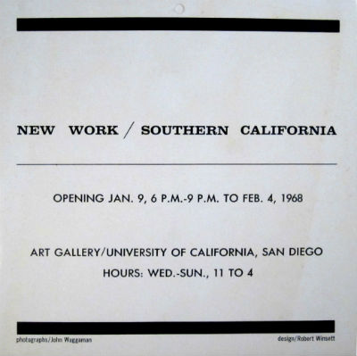 New work / Southern California. Jan. 9 to Feb. 4, 1968. San Diego University of California.