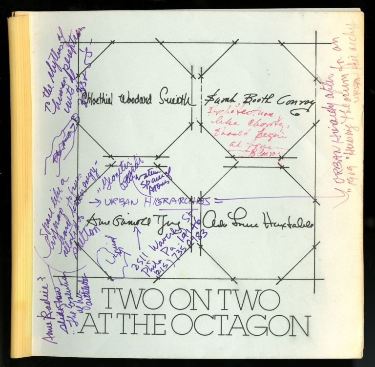 Two on two at the Octagon; design for the urban environment. [Exhibition] the Octagon, Washington, D.C., January 16-March 18, 1979. Anne-Imelda Radice, Sarah Booth Conroy, Ada Louise Huxtable, Chloethiel Woodard Smith, Anne Griswold Tyng.