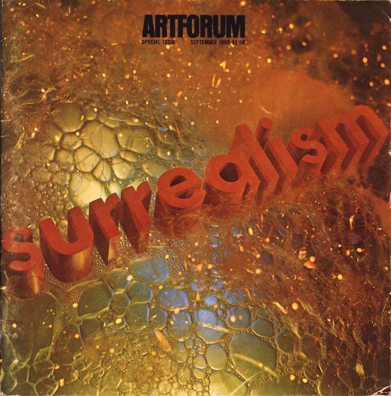 "Artforum, volume V [5], number 1, September 1966. Surrealism issue, with cover design by Edward Ruscha, ""Surrealism soaped and scrubbed"" Edward. Leider Ruscha, , Philip, volume V. Artforum, number 1 5, September 1966. Surrealism issue."