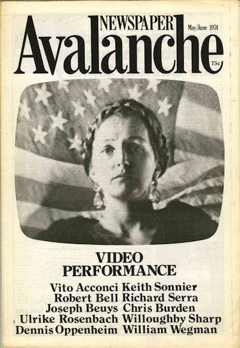 Avalanche newspaper, number 9, May-June 1974. Video Performance. Liza Bear, , Willoughby Sharp, publisher.