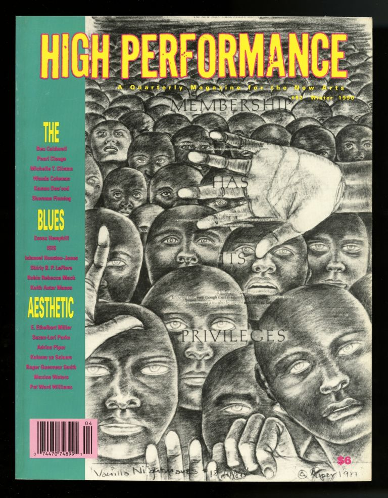 High performance #52, Winter 1990, volume 13, number 4: The blues aesthetic. Steven Durland, Pearl, Wanda. Cleage, E. Ethelbert. Coleman, guest ed. Miller, Keith Antar, ed. Mason.