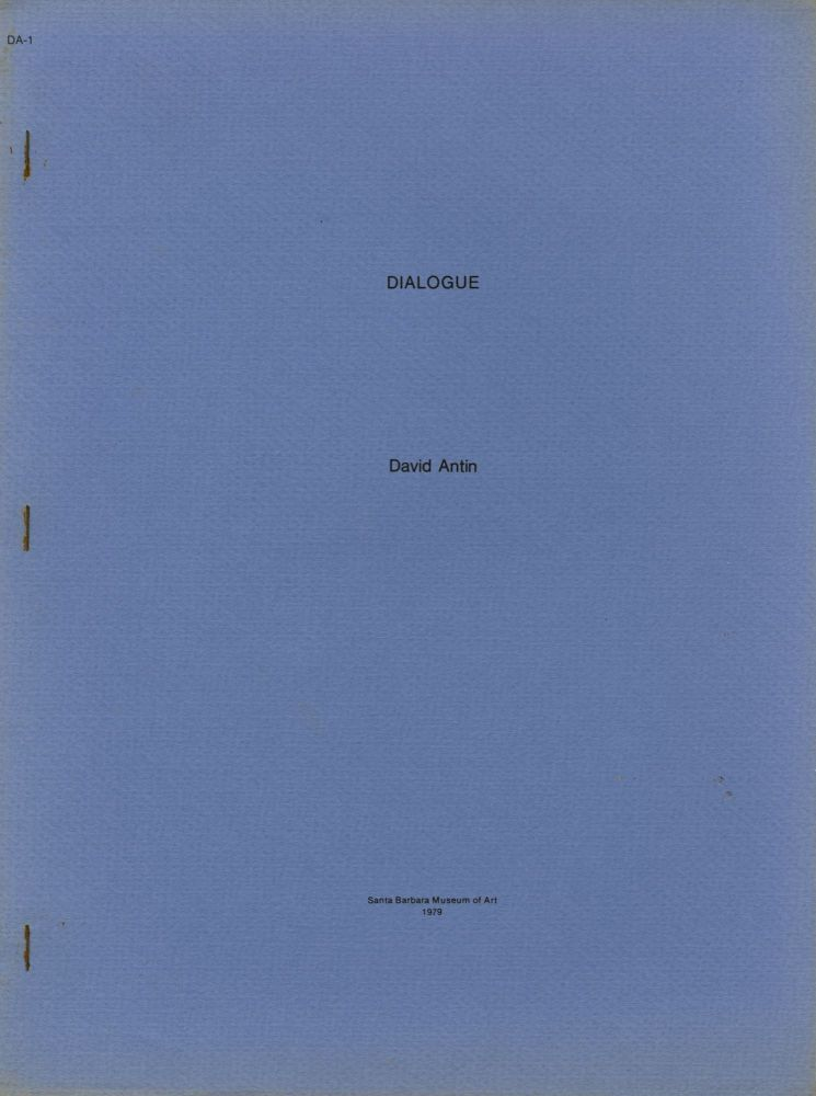 Dialogue [cover title]. David Antin.