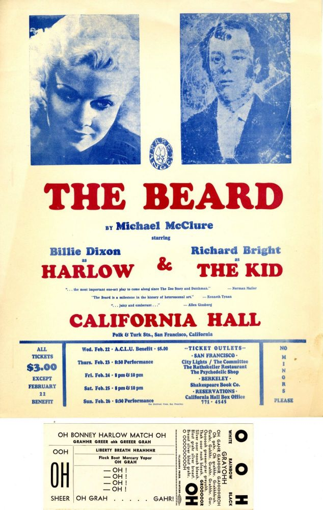 The Beard PLUS Small poster for performances at California Hall in February, 1967. Michael McClure.