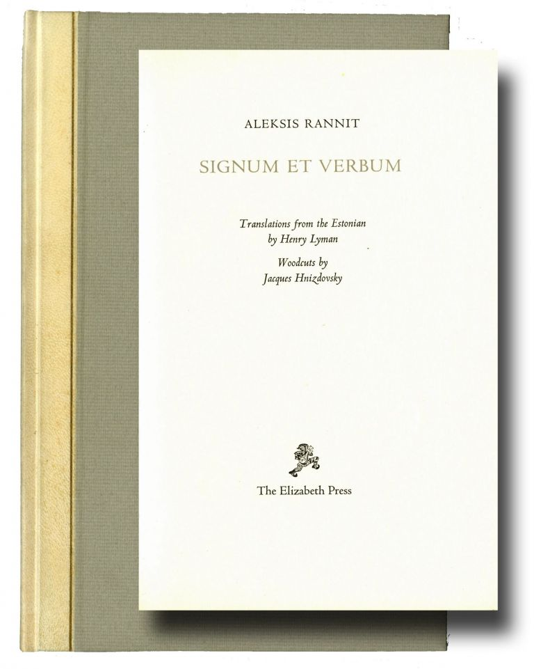 Signum et verbum. Translations from the Estonian by Henry Lyman. Woodcuts by Jacques Hnizdovsky. Signed by Mardersteig. Aleksis Rannit.