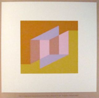 Never Before f. [Handprinted screen miniature of serigraph by Josef Albers in yellow ochre, dark orange, tan, pink, lavender.]. Josef Albers.