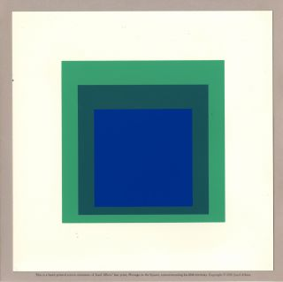 Homage to the Square [Handprinted screen miniature of serigraph by Josef Albers in blues &...
