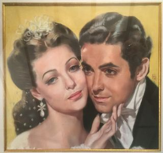 "Pastel drawing of Tyrone Power and Loretta Young in the film ""Suez"""