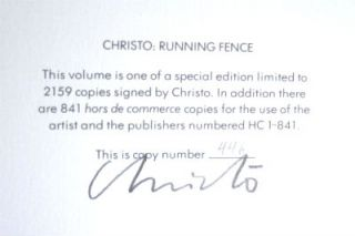 Christo: Running Fence, Sonoma and Marin Counties, California 1972-76, Signed. pristine