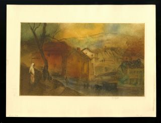 "Jersey Hills. Signed color drypoint, 1923. George Overbury ""Pop"" Hart"