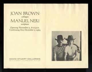 Joan Brown, collages; Manuel Neri, sculpture (exhibition invitation). Joan. Neri Brown, Manuel