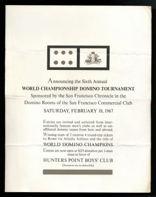 World Championship Domino Tournament (poster). sponsor San Francisco Chronicle