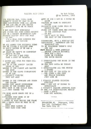 """""""Talking John Birch."""" In: Broadside: a handful of songs about our time. #1, Feb., 1962"""