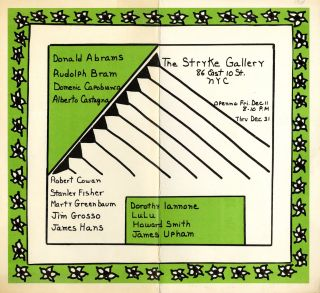 Dorothy Iannone: new paintings at the Stryke Gallery… April 16… to May 6, 1965 [poster]. Plus 1964 Stryke Gallery flyer