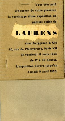 Henri Laurens: papiers collés, with original invitation stapled onto rear cover