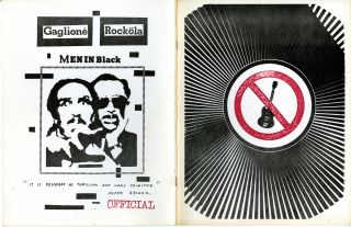 Men in black. [Neo-Roc International mail art exhibition at the Fort Mason Armory Show, Feruary 1-28, 1982]. William J. Rockola Gaglione, Marlon.
