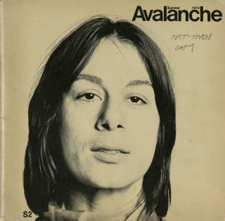 Avalanche number 5. Summer 1972. John Baldessari's copy. Elizabeth Bear, pub, Willoughby, ed. Sharp.