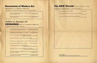 Pax Number 13: Documents of Modern Art; Archives of American Art: Censored; The new decade. Ad....