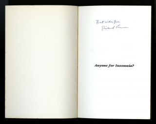 Anyone for insomnia? A playful look at insomnia. Inscribed