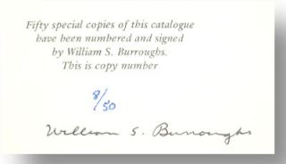 William S. Burroughs, the hombre invisible. Catalogue eight