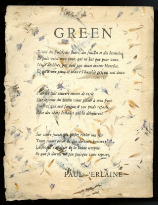 Green (broadside). Paul Verlaine